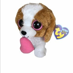 """TY BEANIE BOOS - COOKIE the 6"""" DOG with PINK HEART"""